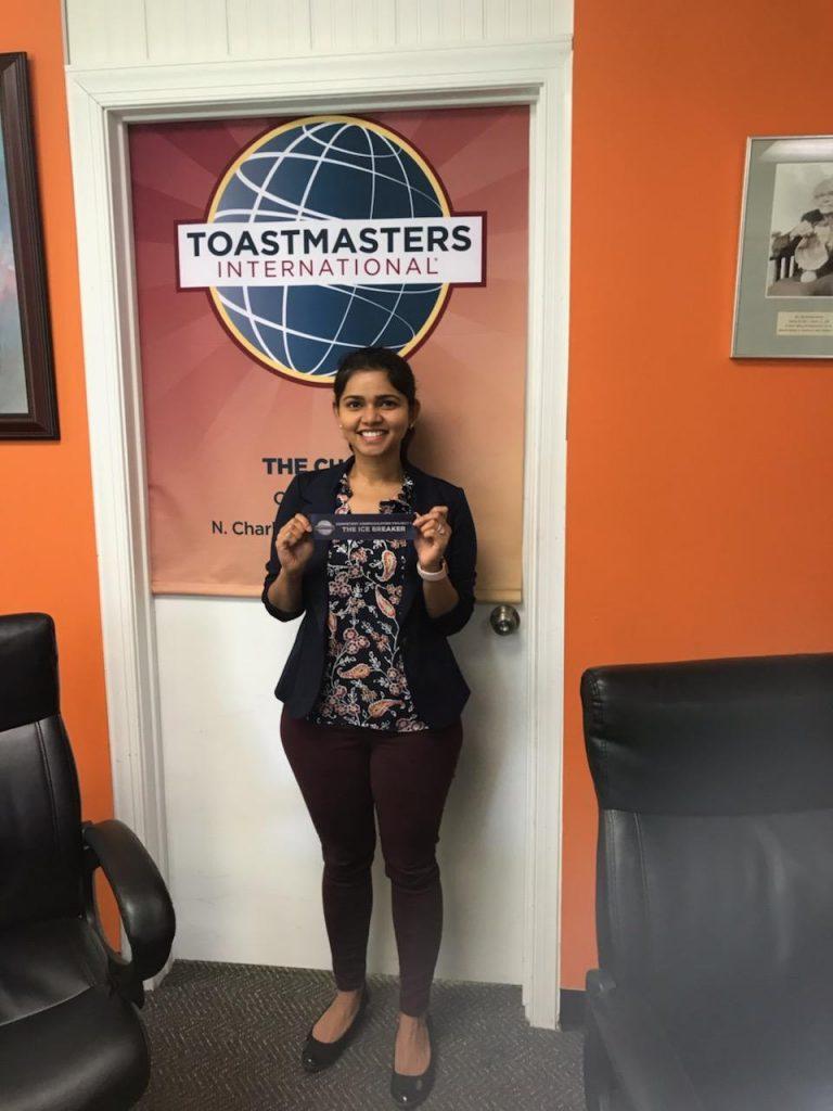 A toastmaster receiving an award.